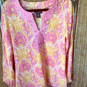 Fun orange and pink tunic top -Sz S